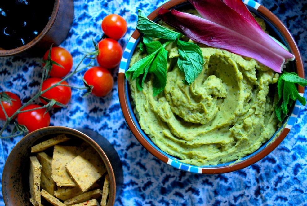 Recette v gane de houmous vert menthe basilic et pistache for Cuisinier vegan